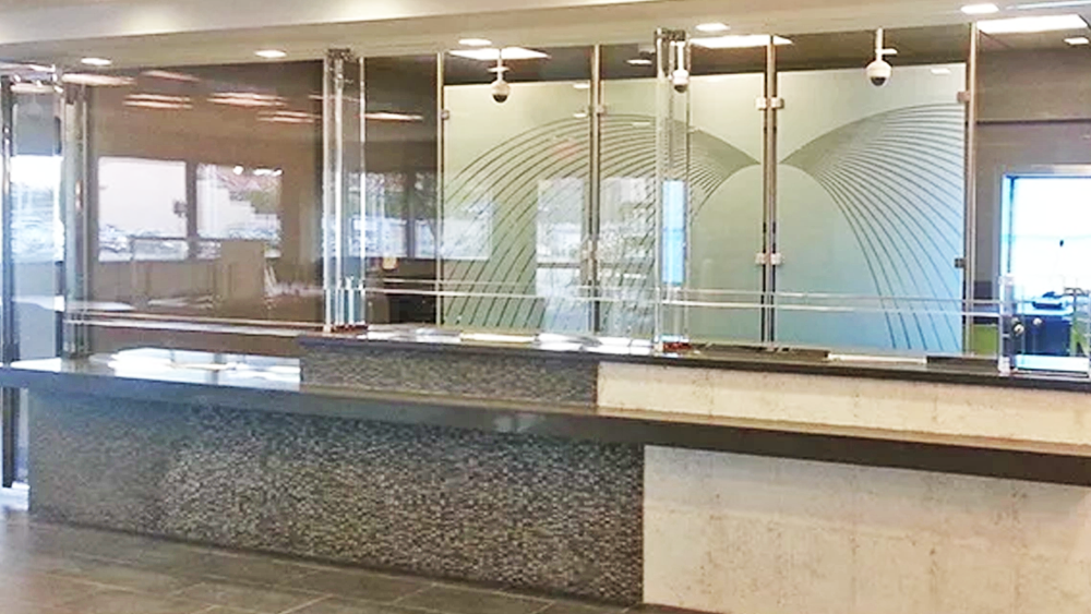 TSS bullet resistant horizontal baffle window at a bank